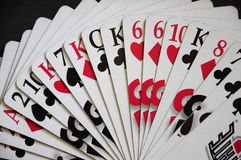 Deck of card. Deck of playing cards mixed black and white stock photos