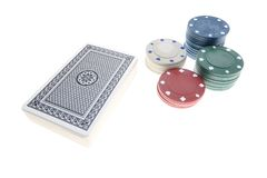 A deck of card and chips royalty free stock photos