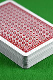 Deck of Cards. Close-up of a deck of cards on a card table Stock Images
