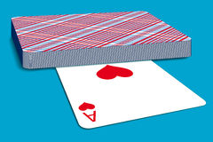 Deck of cards. On blue surface Royalty Free Stock Photos