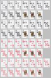 Deck of Cards. Deck of 52 cards, laid out on neutral grey background royalty free illustration