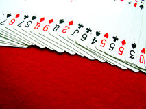 Deck of cards. Fanned out on display royalty free stock image