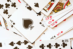 Deck of Cards. With Ace of Spades on Top Royalty Free Stock Photos