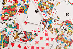 Deck of cards. Scattered deck of playing cards stock photos