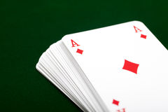 Deck of cards with ace of diamond Stock Image