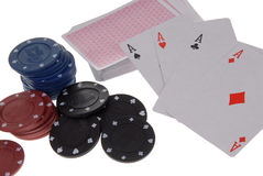 Deck of cards and casino chips Royalty Free Stock Image