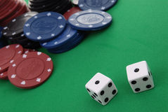 Deck of cards and casino chips Royalty Free Stock Photography