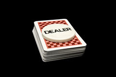 Deck of cards and dealer Royalty Free Stock Photo