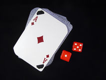 Deck of Cards and Dice Stock Images
