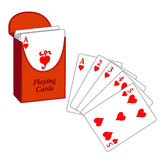 Deck of Cards, Flush. Deck of playing cards with my winning lucky Poker hand! EPS8 organized in groups for easy editing royalty free illustration