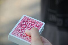 Deck of cards in hand Royalty Free Stock Photography