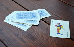 Deck of cards and joker Royalty Free Stock Images