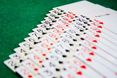 A deck of cards laid out Royalty Free Stock Photography