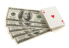 Deck of cards and money on white background Stock Image