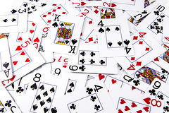 Deck of cards. A deck of poker cards all spread and laid out. Symbol of gambling or to gamble royalty free stock photos