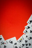 Deck of cards used as a corner Royalty Free Stock Image