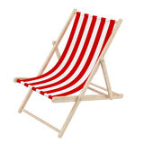 Deck chair. Render of a red deck chair, isolated on white Royalty Free Stock Photos