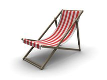 Deck chair. 3d rendered illustration of  a red and white deck chair Royalty Free Stock Photos