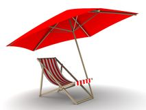 Deck chair. 3d rendered illustration of a deck chair and sunshade Stock Photography