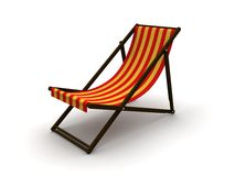 Deck chair. 3d rendered illustration of a red and yellow deck chair Stock Image