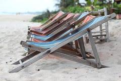 Deck chair. On beach, Cha-am beach, Thailand Stock Photo