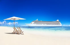 Deck Chair on the Beach and Cruise Royalty Free Stock Images