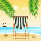 Deck chair on the beach. Illustration of deck chair on the beach Stock Photo