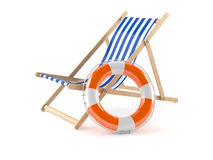 Deck chair with buoy. Isolated on white background Royalty Free Stock Photos