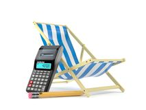 Deck chair with calculator and pencil. Isolated on white background. 3d illustration Royalty Free Stock Photo