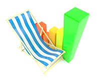 Deck chair with chart. On white background Royalty Free Stock Image