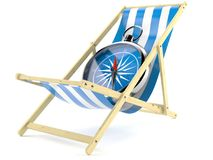 Deck chair with compass. Isolated on white background Stock Photo
