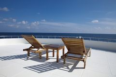 Deck chair on cruising ship Royalty Free Stock Photography