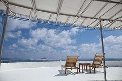 Deck chair on cruising ship Royalty Free Stock Images