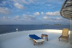 Deck chair on cruising ship Royalty Free Stock Photo