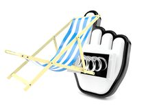 Deck chair with cursor. Isolated on white background Royalty Free Stock Images