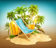 Deck chair. On the beach with palms and suitcase. Unusual travel illustration Royalty Free Stock Photo