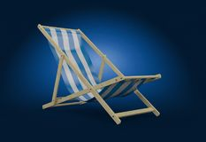 Deck chair. On blue background Royalty Free Stock Images