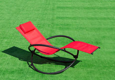 Deck-chair on the field Royalty Free Stock Image