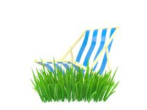 Deck chair on grass. Isolated on white background. 3d illustration Royalty Free Stock Photography