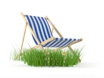 Deck chair with grass. On white background Royalty Free Stock Photo