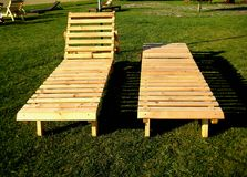 Deck chair made of wooden boards Stock Images
