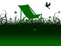 Deck Chair Means Green Grass And Summer Royalty Free Stock Image