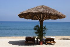 Deck chair by the sea. In a hotel resort in Kerala state india royalty free stock photo