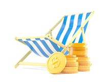 Deck chair with stack of coins. Isolated on white background Stock Images