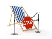 Deck chair with stop road sign. Isolated on white background Stock Images