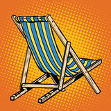 Deck chair striped blue beach lounger Royalty Free Stock Photography