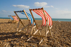 Deck chair sun lounger holiday England Royalty Free Stock Photo