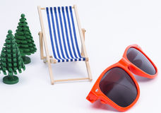 Deck Chair and sunglases Stock Image