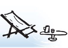 Deck chair and table. Hand drawn illustration of deck chair and table with glass of beer on it Stock Photos