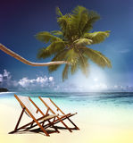 Deck Chair Trapical Beach Summer Paradise Concept Stock Photos